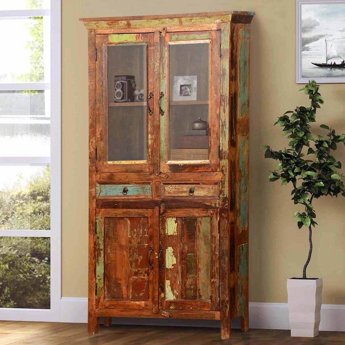 """Pioneer Rustic Reclaimed Wood 70.5"""" Breakfront Hutch Cabinet - Pioneer Rustic Reclaimed Wood 70.5"""
