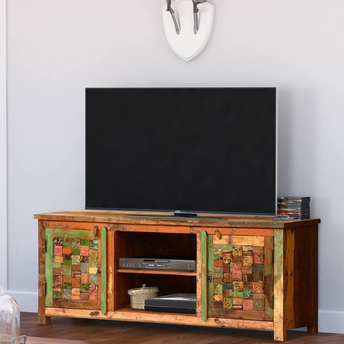 Charmant Textured Tiles Reclaimed Wood 60 TV Console Media Cabinet