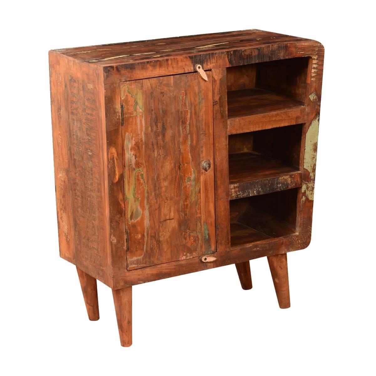 Retro Rustic Reclaimed Wood Cabinet W Open Shelves