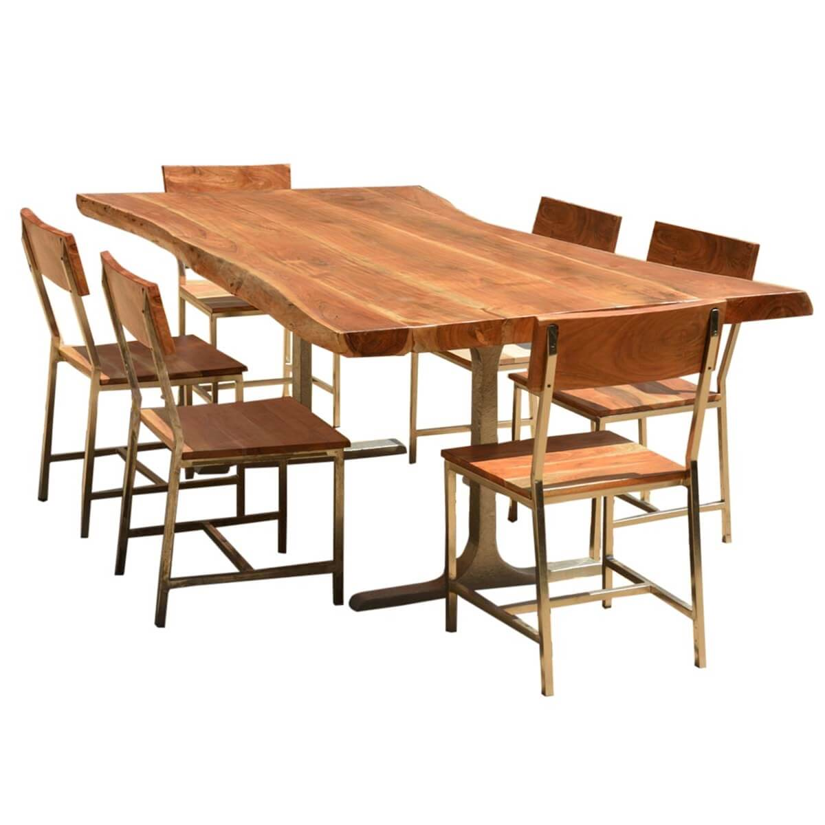 Sierra Solid Wood Rustic Live Edge Dining Table Amp Chairs Set
