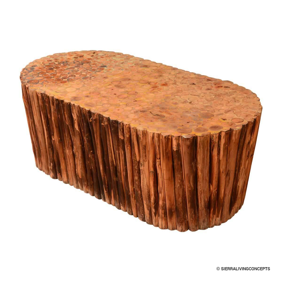 Log Cabin Hardwood Rustic Honeycomb Coffee Table