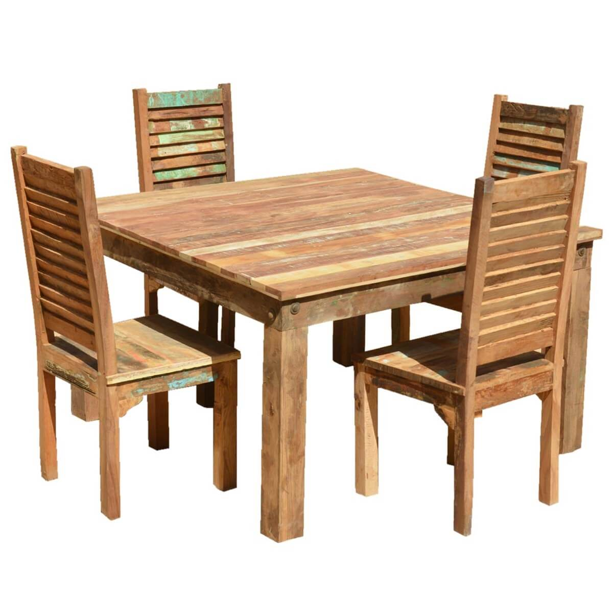 Ohio Reclaimed Wood Furniture Dining Table U0026 Shutter Back Chairs Set