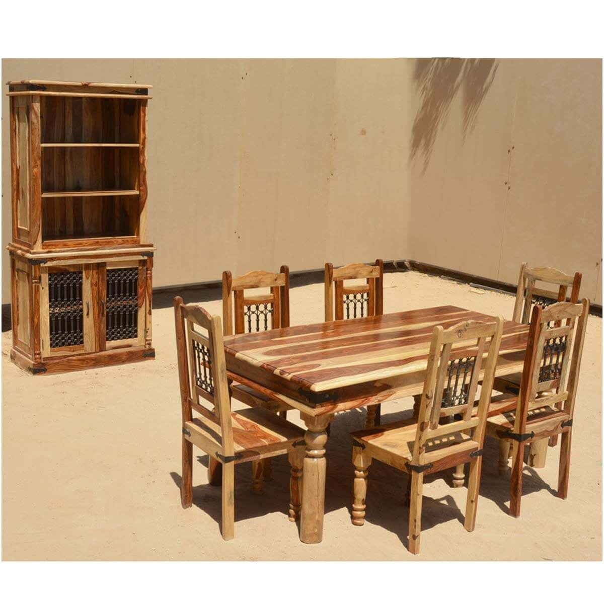 Dallas Ranch 8pc Solid Wood Dining Set Table Chairs Cabinet Set