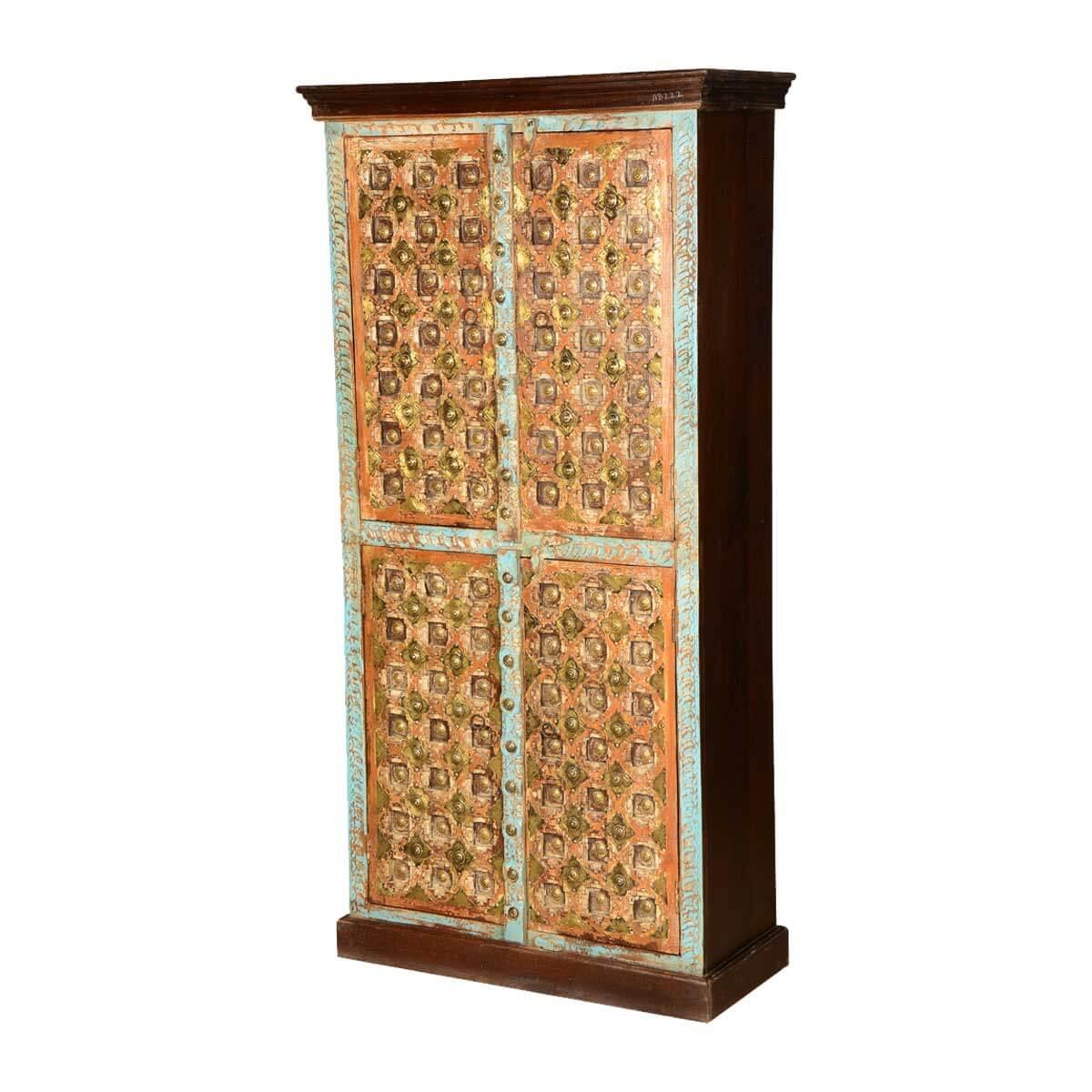 Turkish Splendor Mango Wood Armoire Wardrobe Cabinet