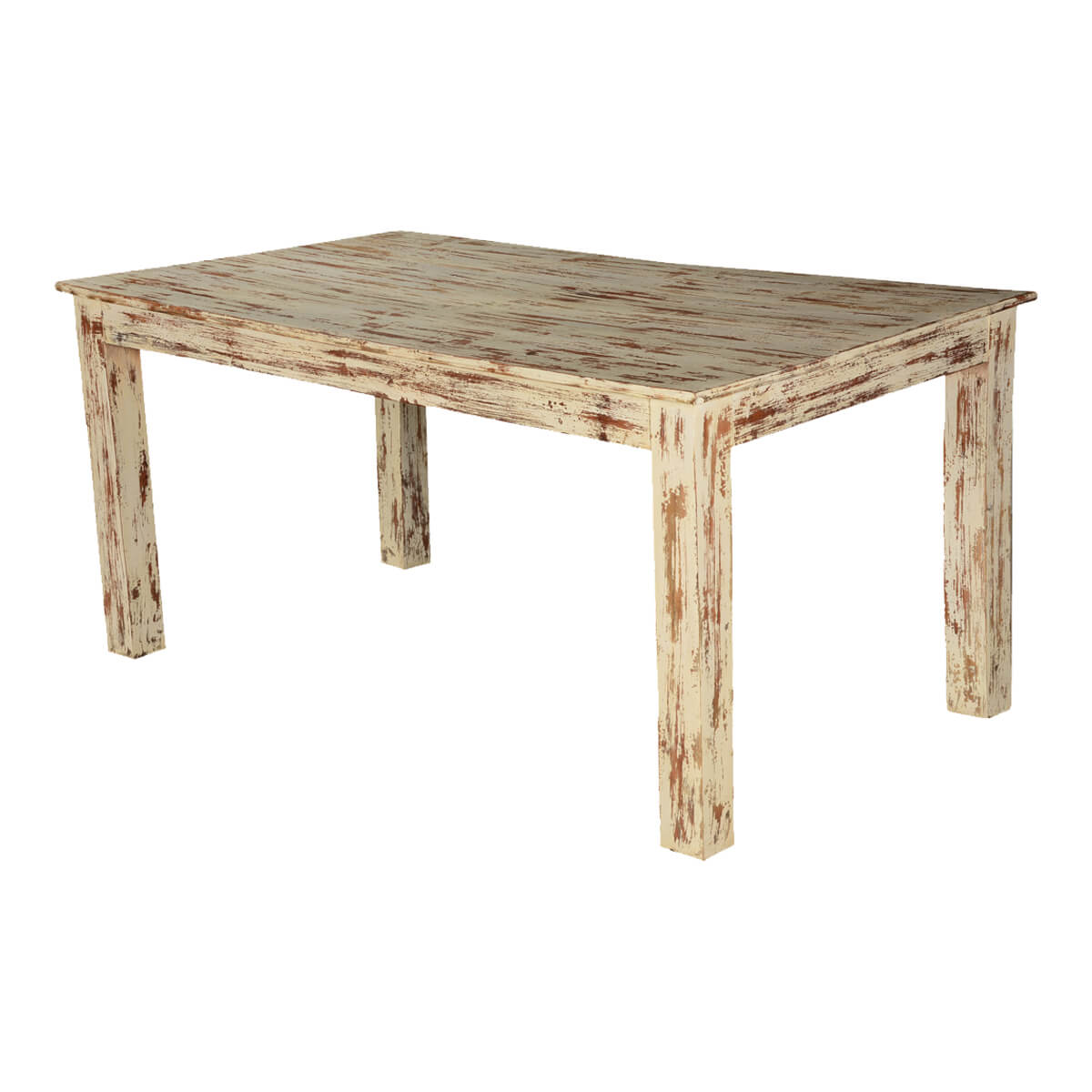 Rustic white brown speckled mango wood 63 kitchen dining table - Rustic wooden kitchen table ...