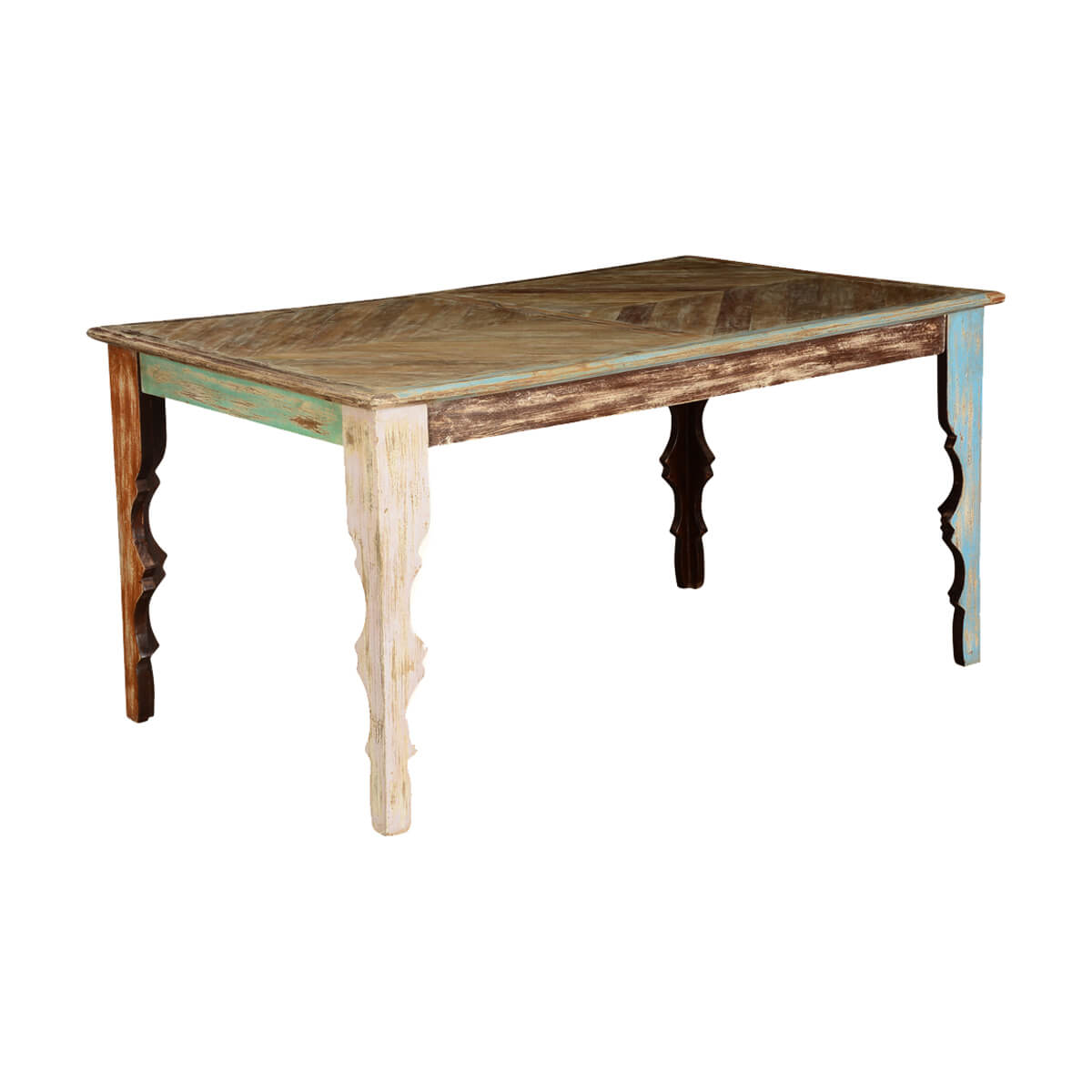 rustic parquet diamond mango wood dining table. Black Bedroom Furniture Sets. Home Design Ideas