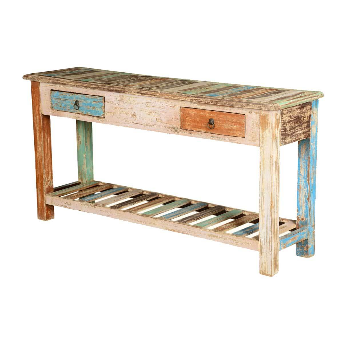 "Rustic Colors Mango Wood 59"" Hall Console Table w Drawers"