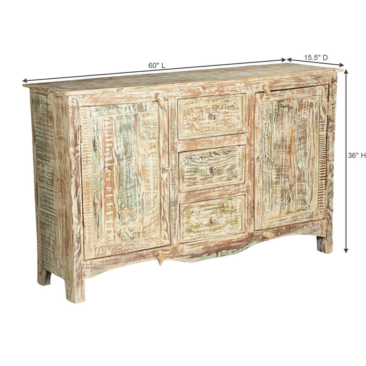 Adairville Distressed Mango Wood 3 Drawer Rustic Sideboard