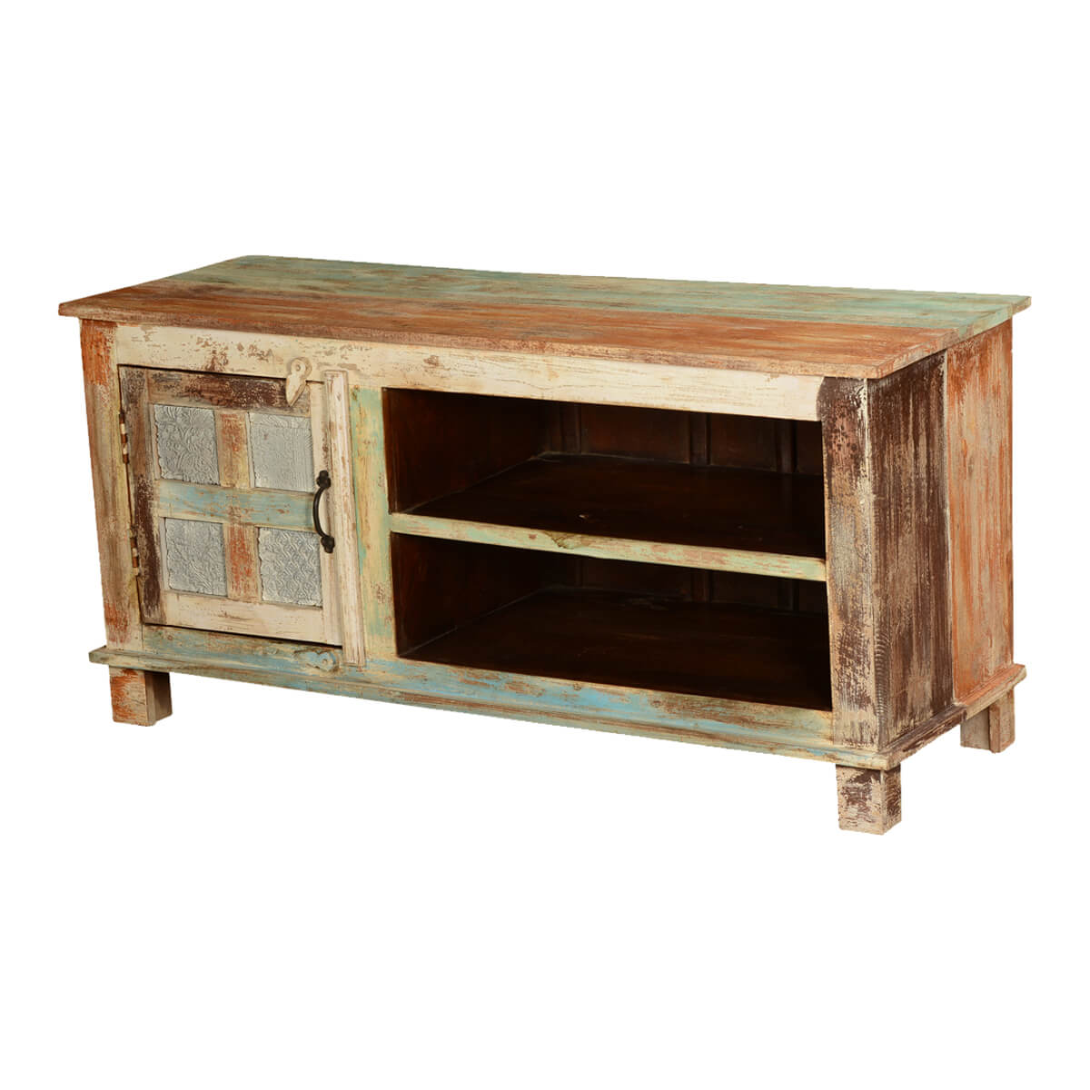 Roslyn wooden window mango wood tv stand media console cabinet