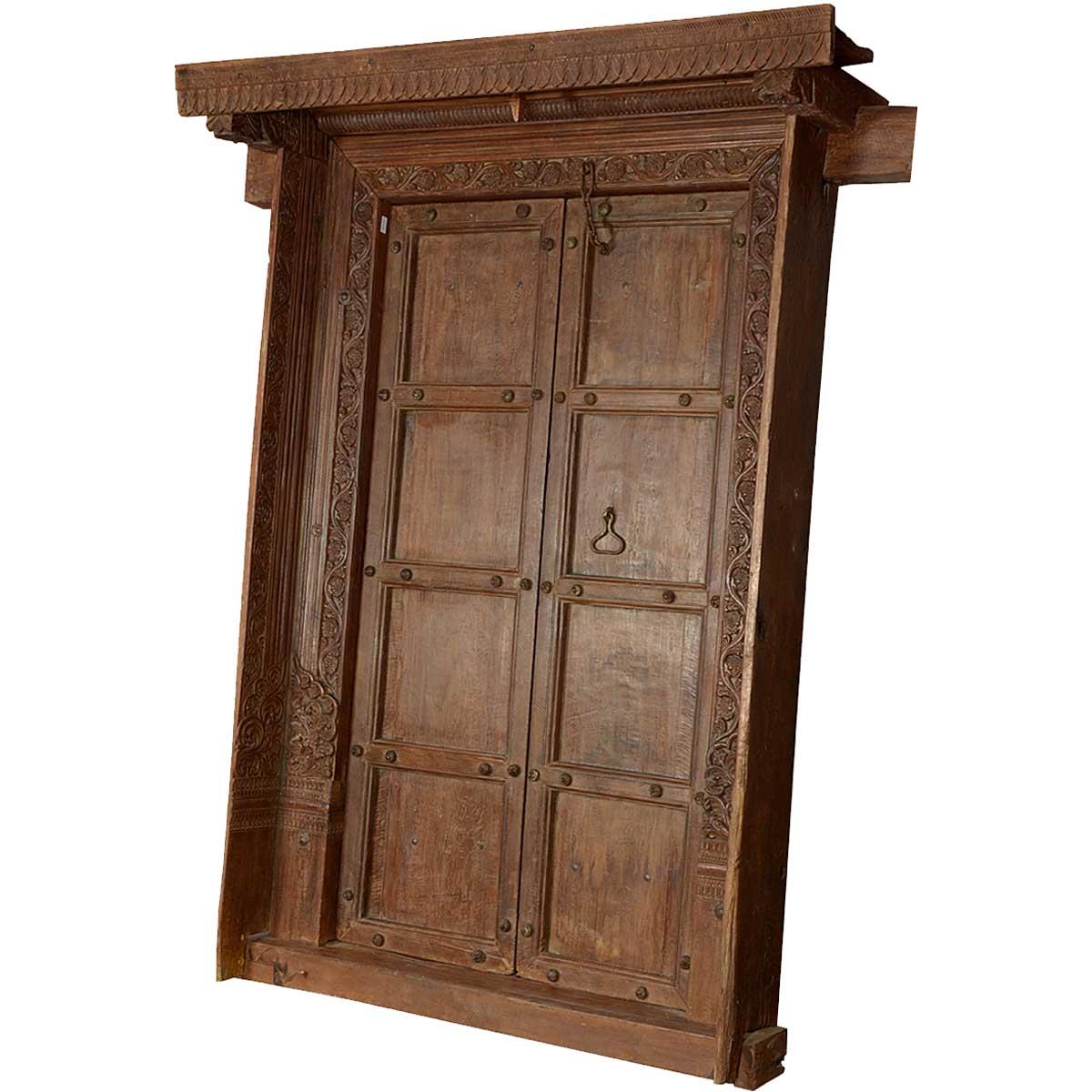 Tudor rose reclaimed wood 8 panel hand carved doors for Hand carved wood doors