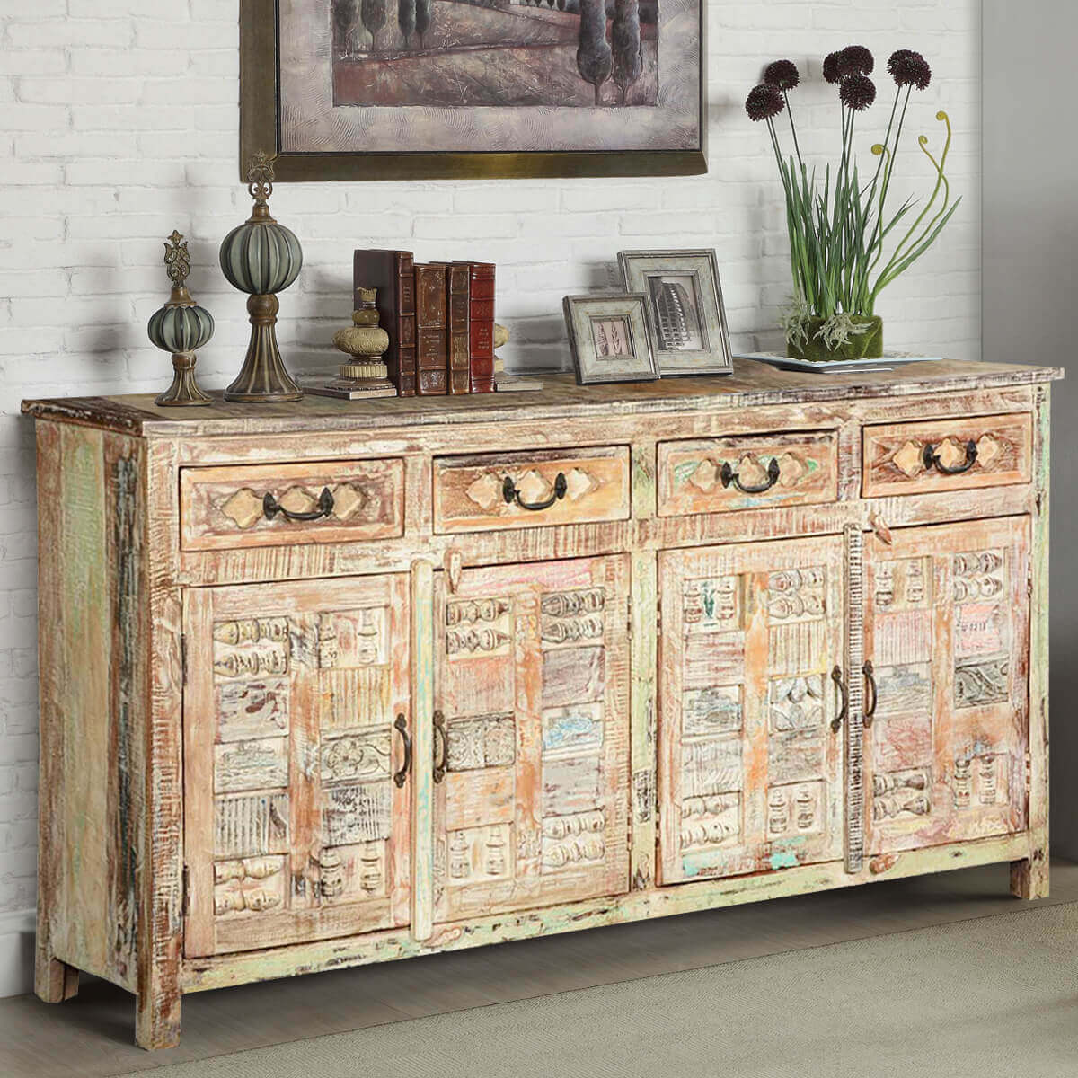 Primitive Carvings Distressed Mango Wood Sideboard Buffet - Tucson 59