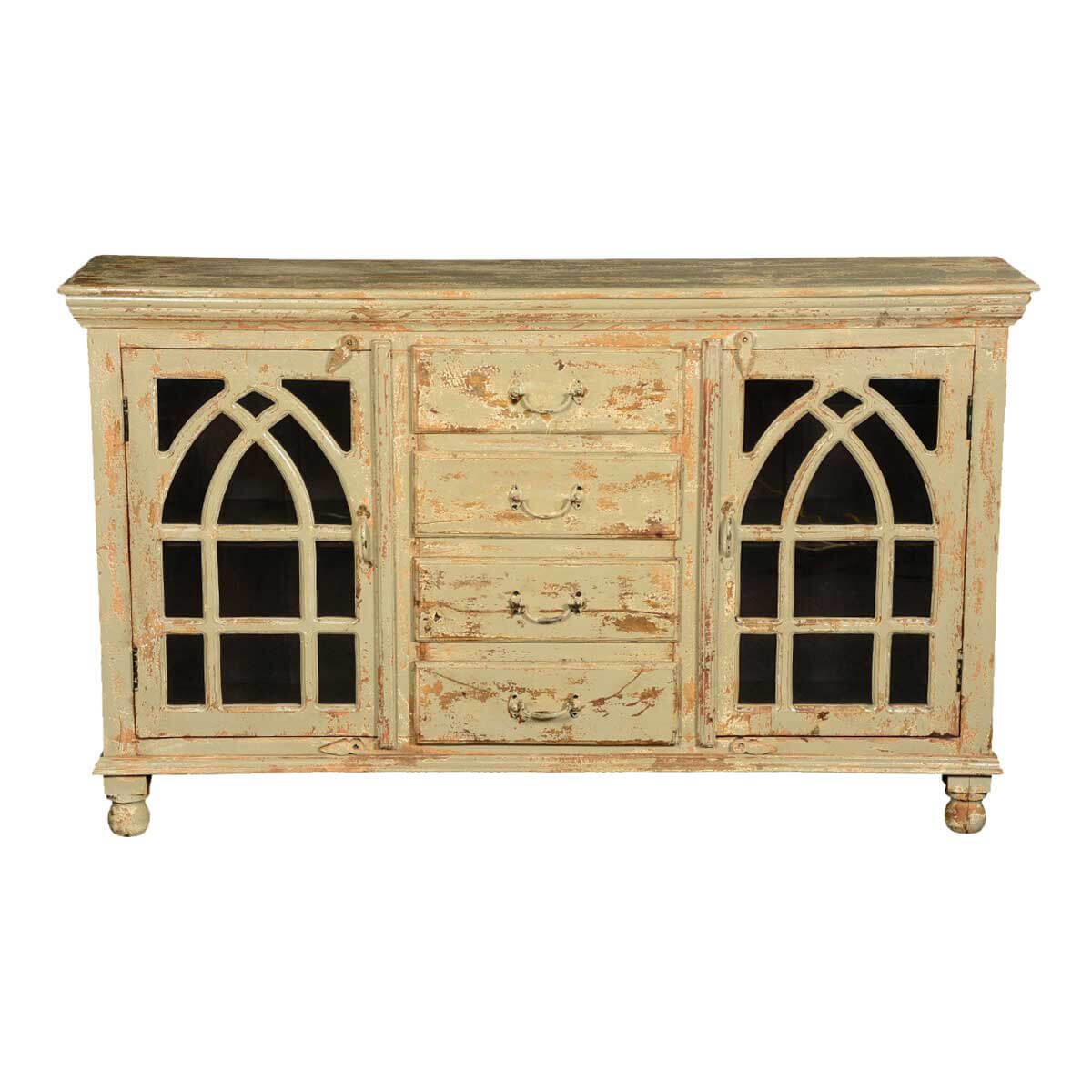 Gothic Arches Grille Mango Wood 4 Drawer Buffet Cabinet