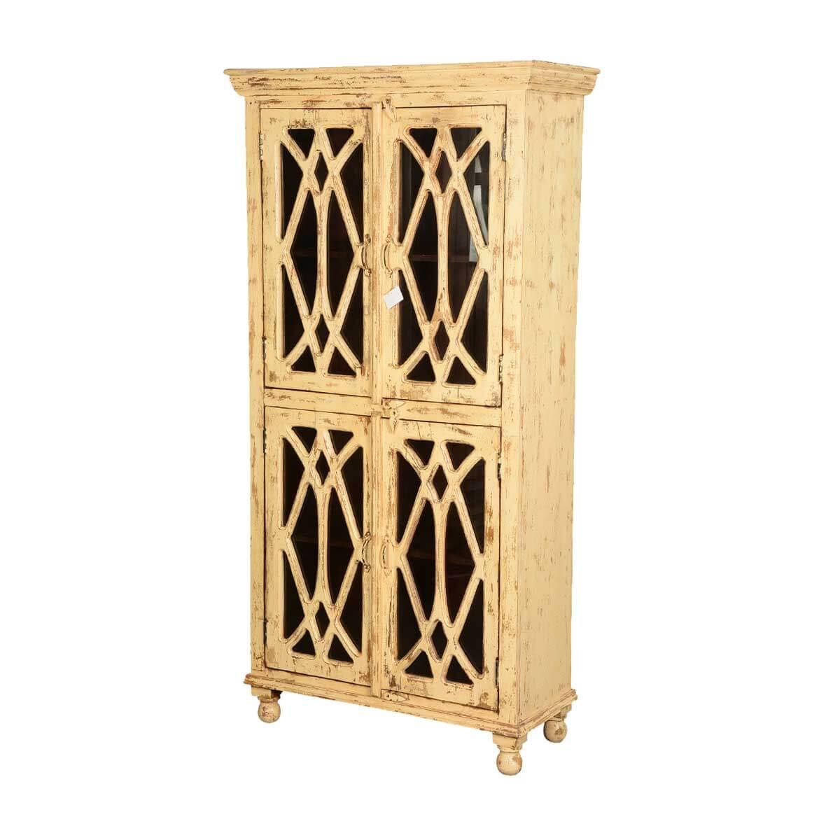 Diamond Grille Distressed Mango Wood Glass Door Armoire