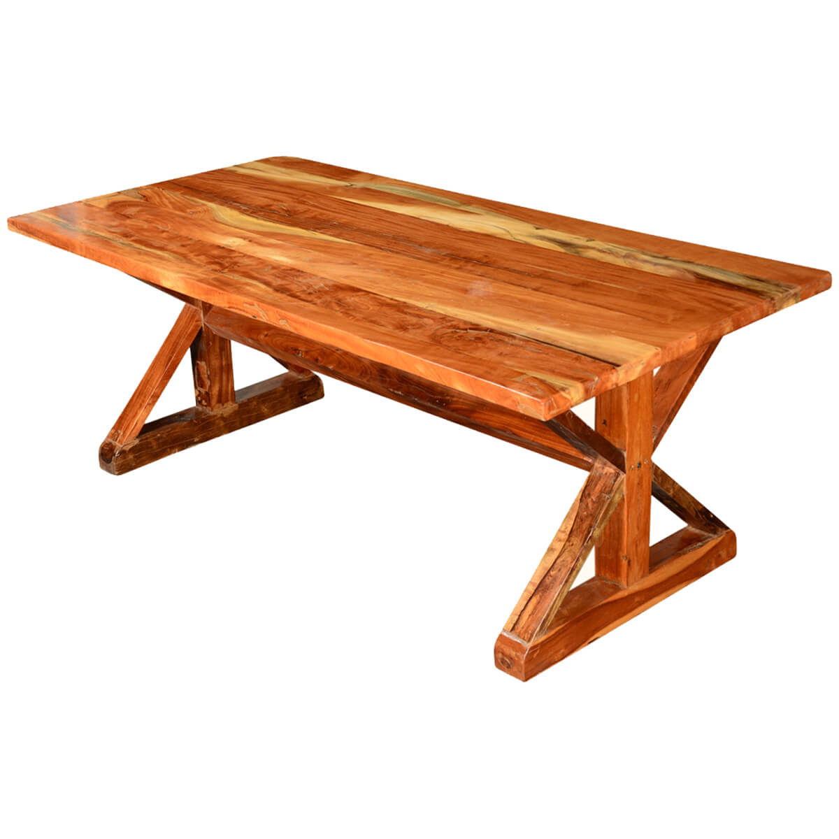 Rustic x legs acacia wood 78 5 picnic style trestle for Rustic trestle dining table
