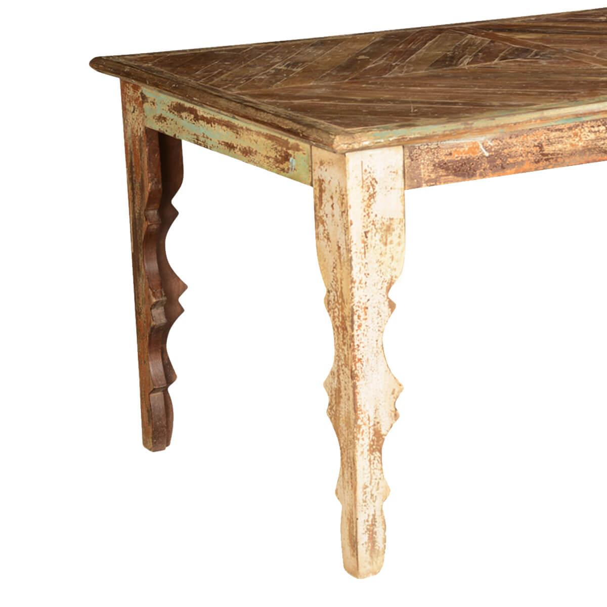 rustic parquet mango wood dining table w v shaped legs. Black Bedroom Furniture Sets. Home Design Ideas