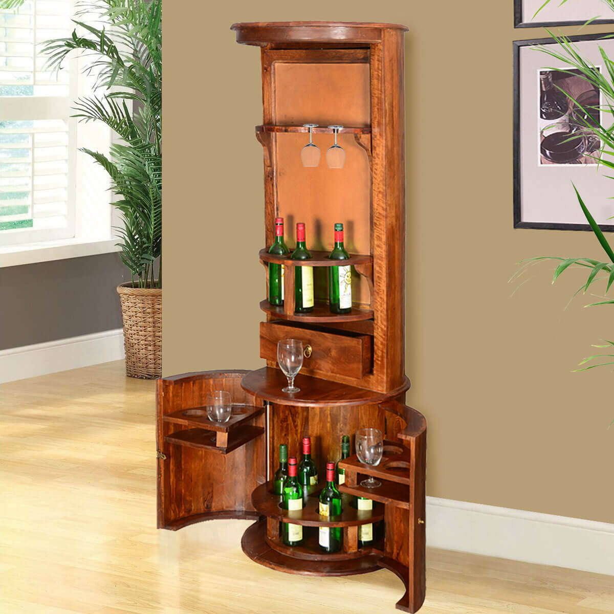 & Hebron Solid Wood Barrel Design Tower Bar Cabinet with Wine Storage