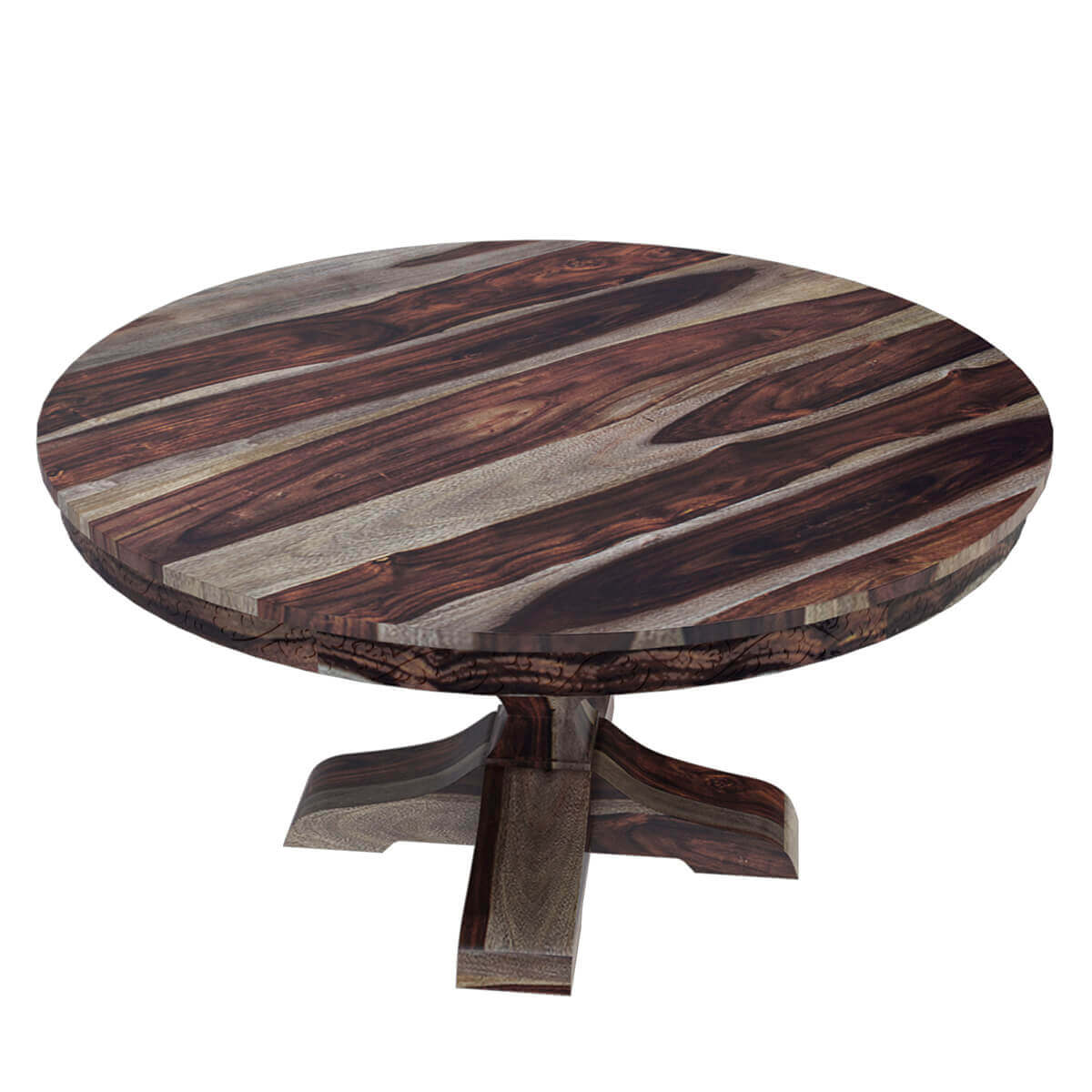 Brown dallas solid wood 60 round pedestal dining table - Round timber dining table ...