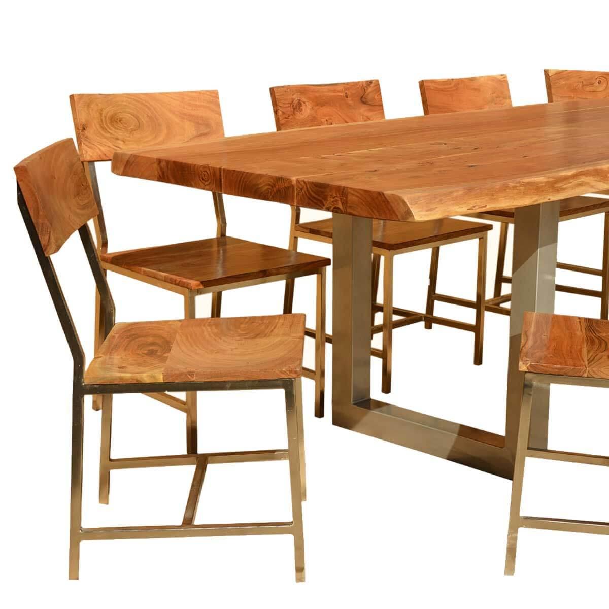 ... Live Edge Acacia Wood U0026 Iron 117u201d Modern Dining Table U0026 10 Chairs ...