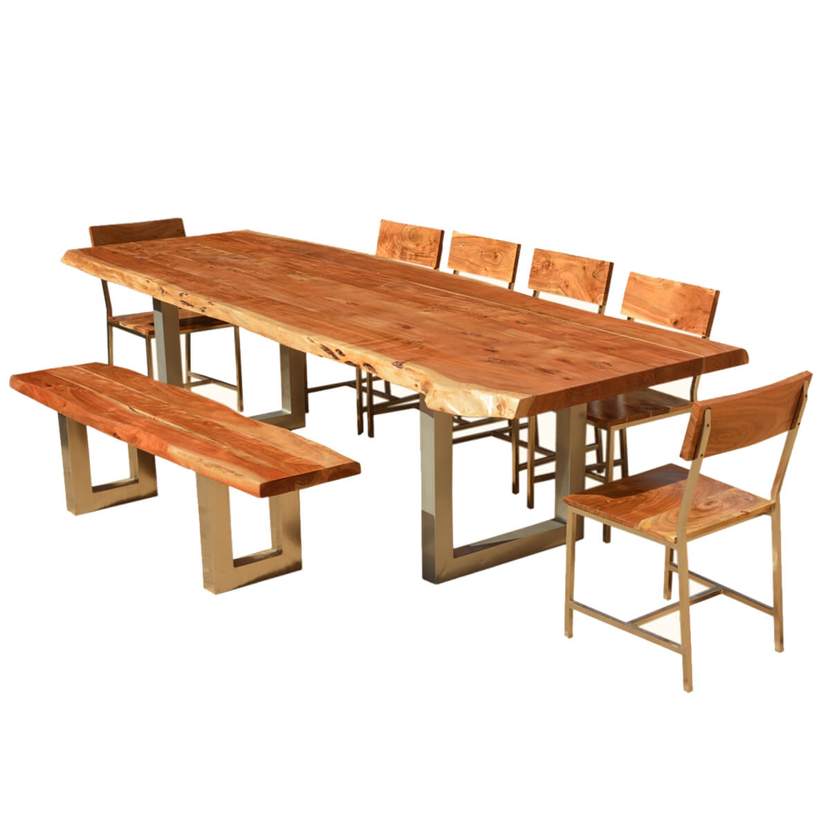 """Wood Dining Table Bench: 117"""" Live Edge Dining Table W 6 Chairs & Bench"""