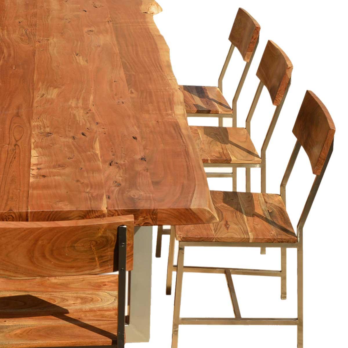 ... Live Edge Acacia Wood U0026 Iron 106u201d Modern Dining Table U0026 8 Chairs