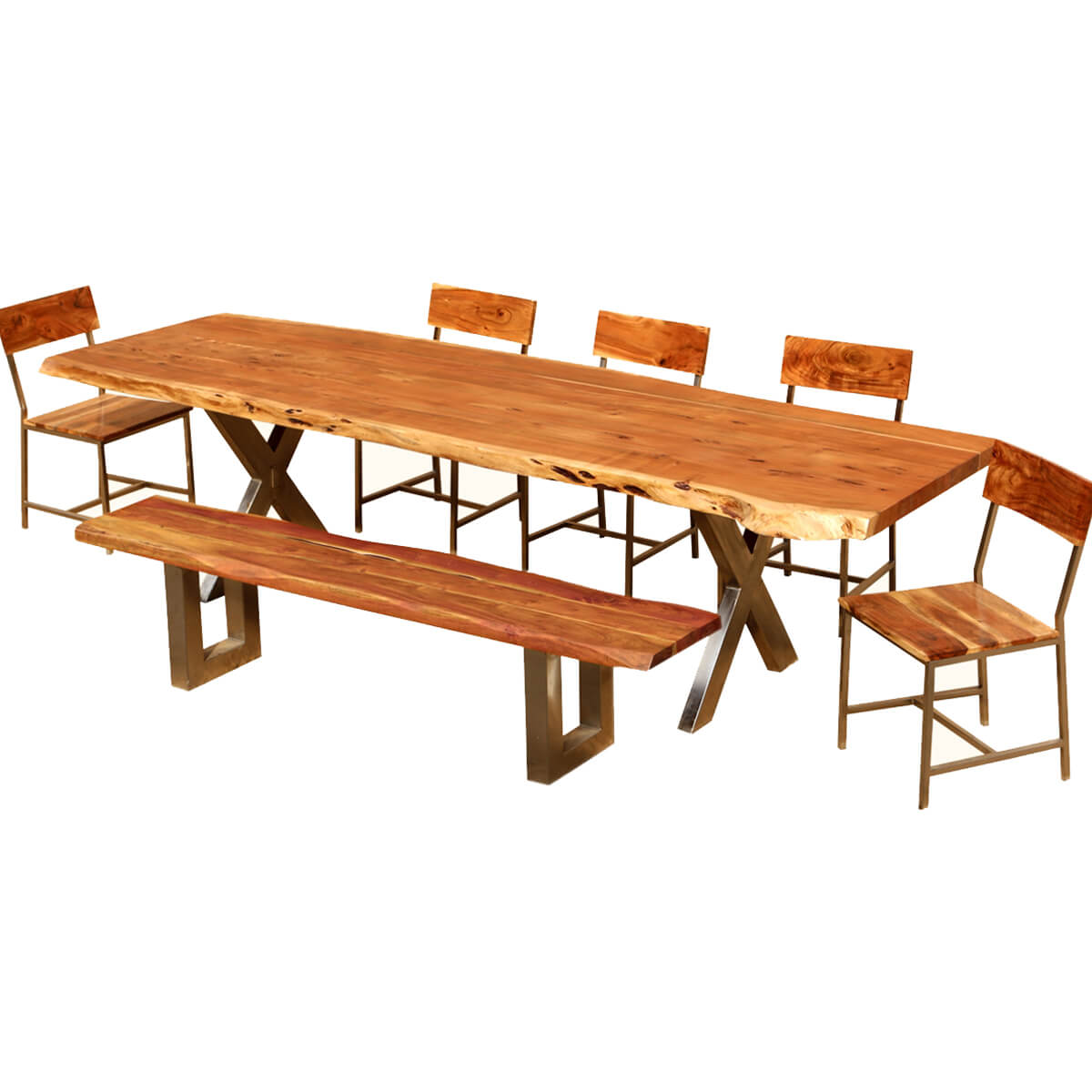 Live Edge Acacia Wood Amp Iron 106 Quot Dining Table W 5 Chairs
