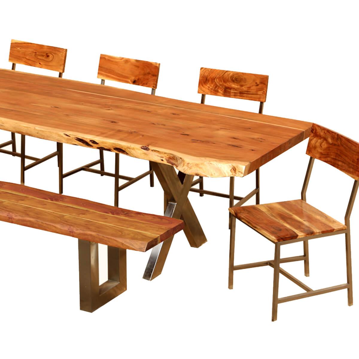 ... Live Edge Acacia Wood U0026 Iron 106u201d Dining Table W 5 Chairs U0026 Bench ...