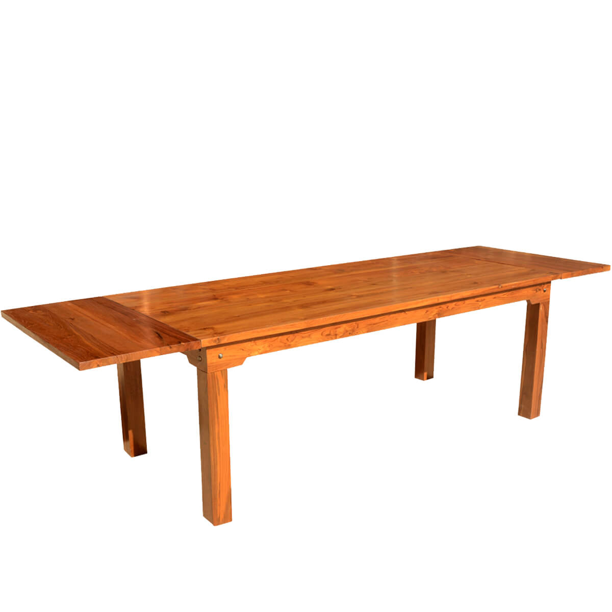 Simply modern solid teak wood dining table w extensions for Modern solid wood dining table