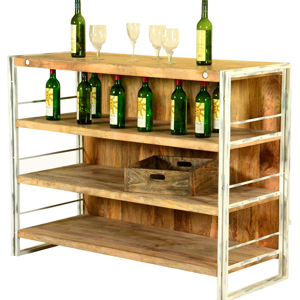 Modern Home Bar Cabinet: Modern Rustic Mango Wood Industrial Home Wine Bar Cabinet