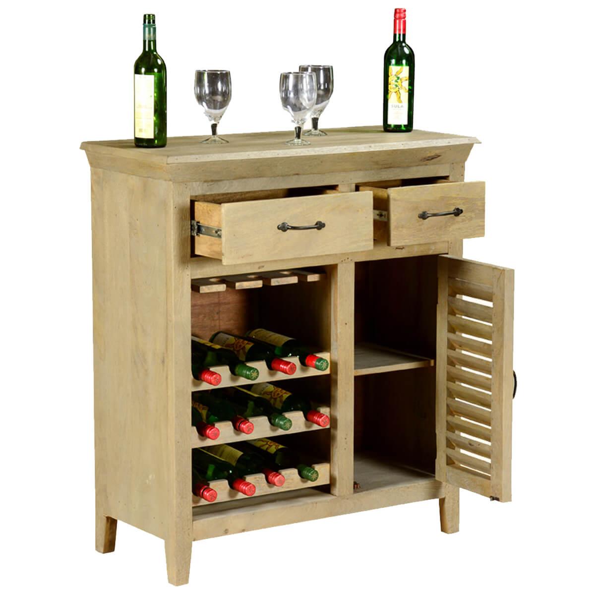 Oklahoma Rustic Mango Wood 2 Drawer Bar Cabinet With Wine