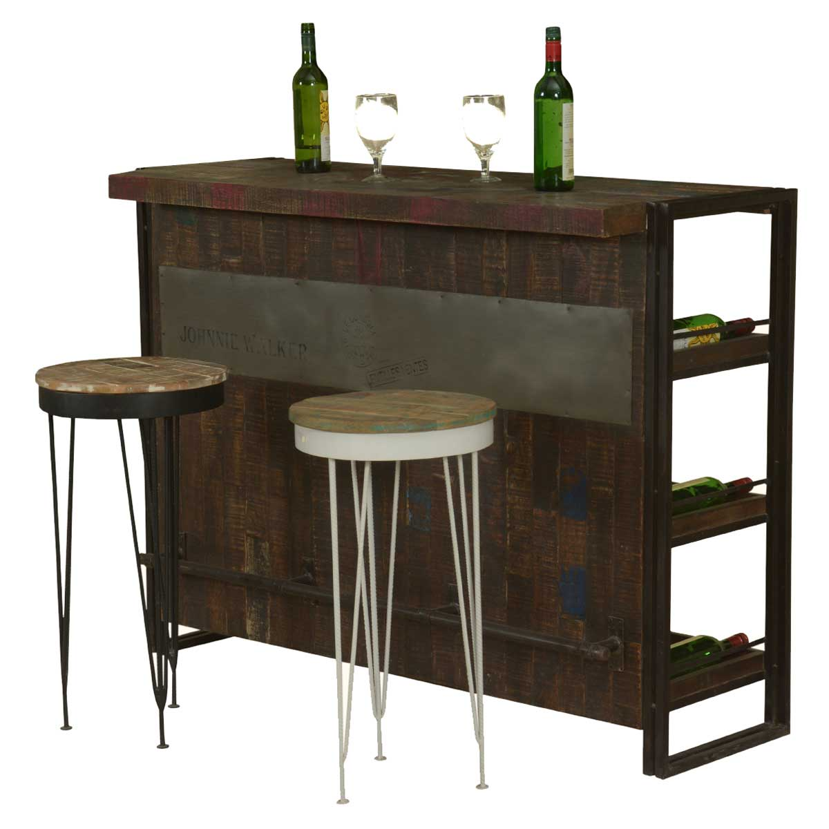 gratis modern mango wood industrial wine bar cabinet with 2 stools. Black Bedroom Furniture Sets. Home Design Ideas
