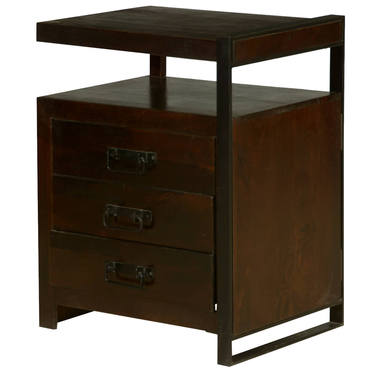 Retro Mango Wood And Iron 3 Drawer Industrial End Table