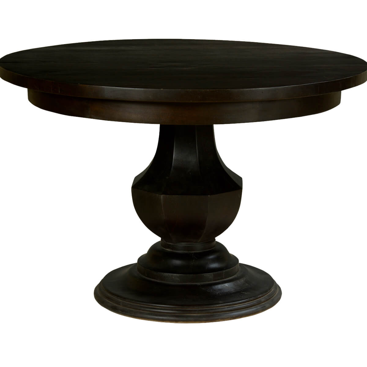 Midnight solid mango wood round pedestal dining table for Pedestal table