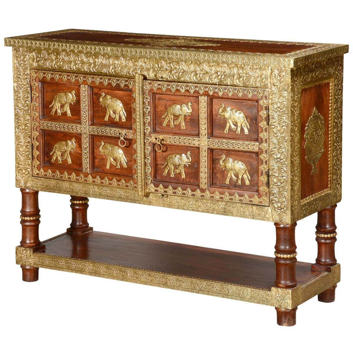 Golden elephants mango wood brass inlay console table chest 8 golden elephants mango wood brass inlay console table chest geotapseo Image collections