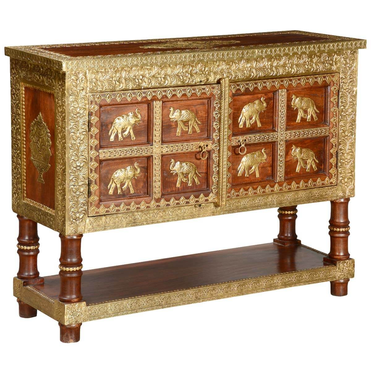 8 Golden Elephants Mango Wood Brass Inlay Console Table Chest