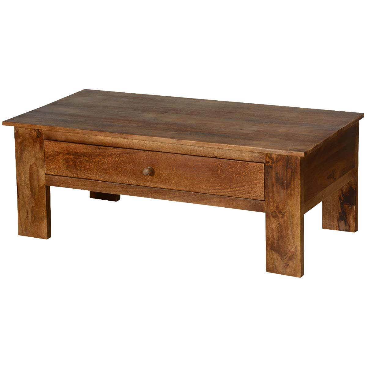 "Rustic All Wood Coffee Table: Pioneer Rustic Solid Mango Wood 42"" Coffee Table W Hidden"