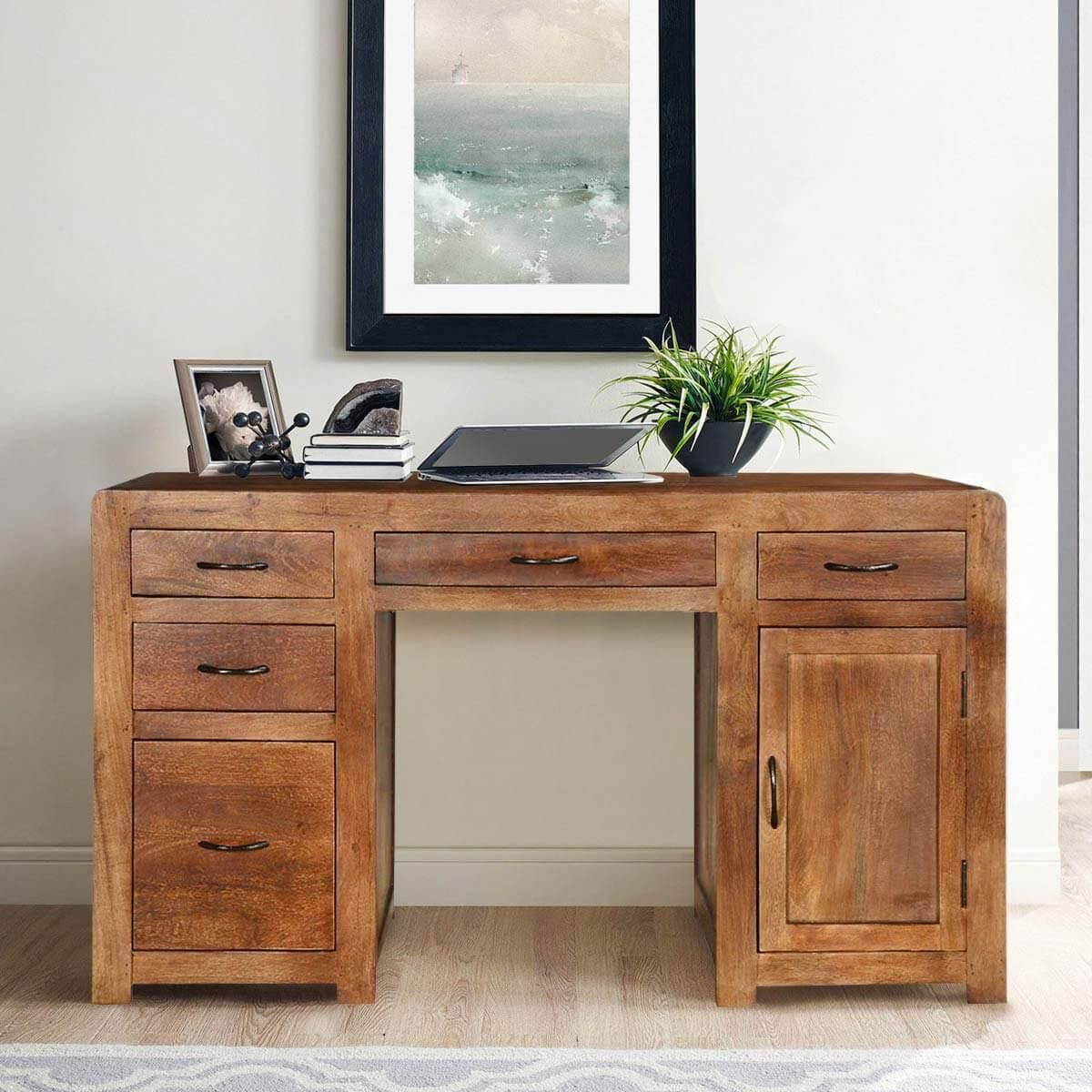 rustic solid mango wood desks with file cabinets. Black Bedroom Furniture Sets. Home Design Ideas