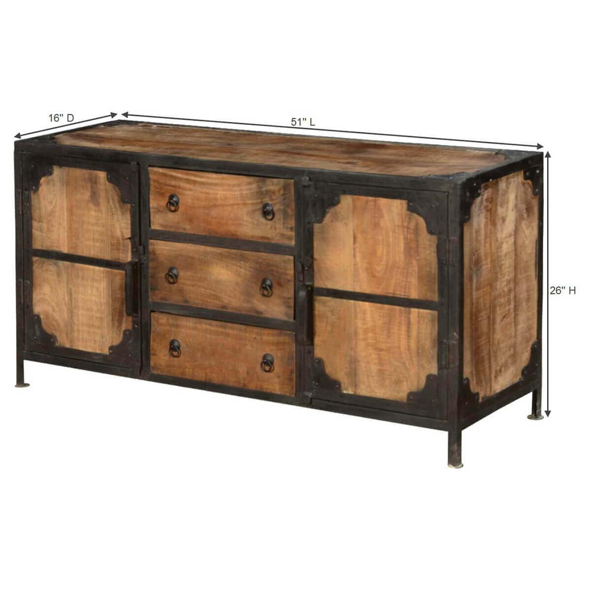 windsor solid wood iron 3 drawer 2 door industrial. Black Bedroom Furniture Sets. Home Design Ideas