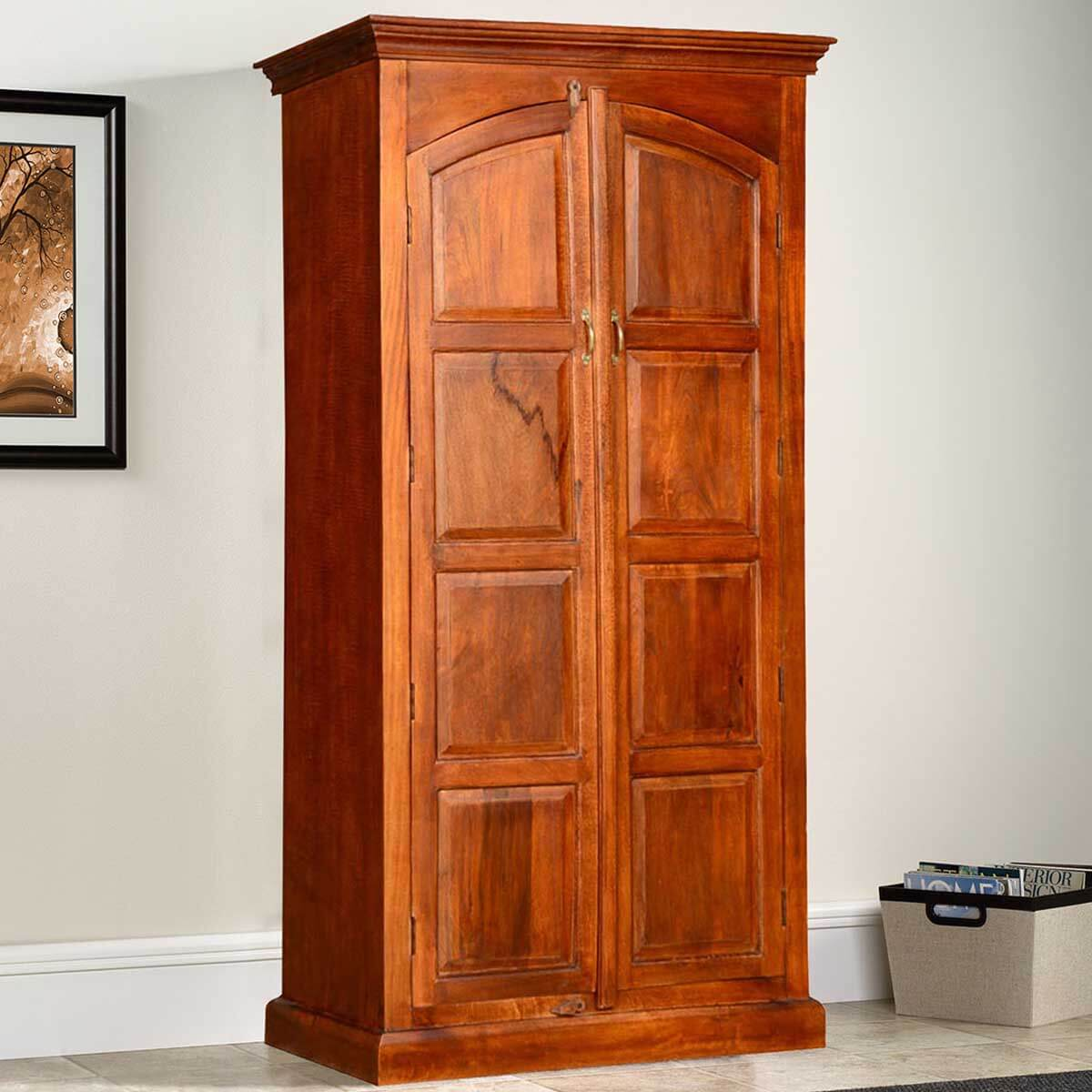 sc 1 st  Sierra Living Concepts & Tioga Solid Wood 2 Door Tall Storage Cabinet Armoire