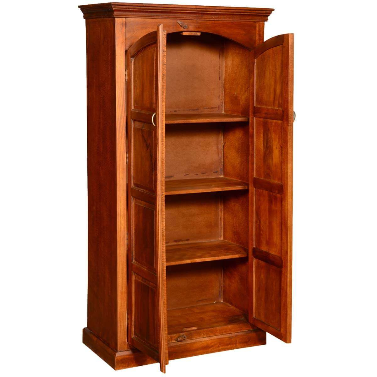 tioga solid wood 2 door tall storage cabinet armoire. Black Bedroom Furniture Sets. Home Design Ideas