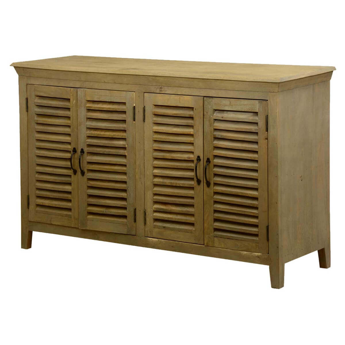 Oklahoma Honey Mango Wood Shutter Door Buffet Cabinet