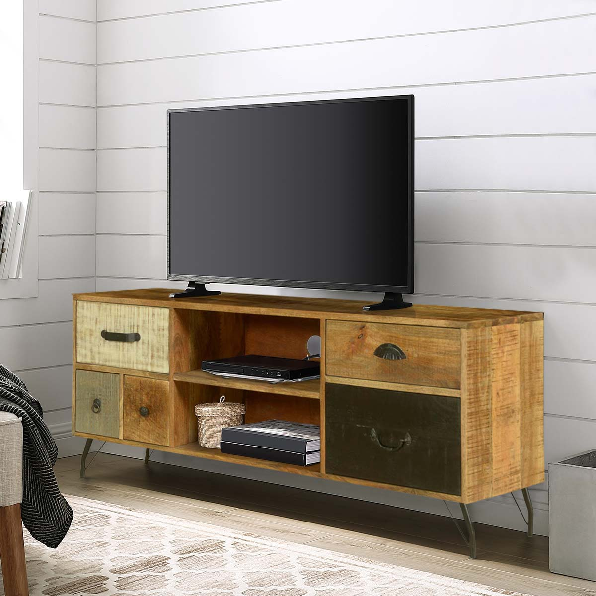 "Wooden Patches Mango Wood & Iron 52.5"" TV Console Media Island"