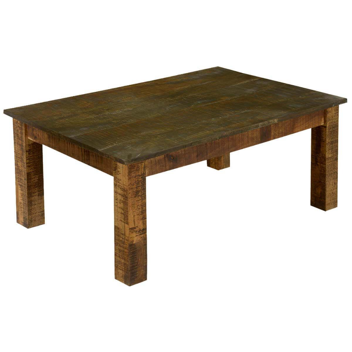 Pioneer Rustic Solid Mango Wood Textured Coffee Table