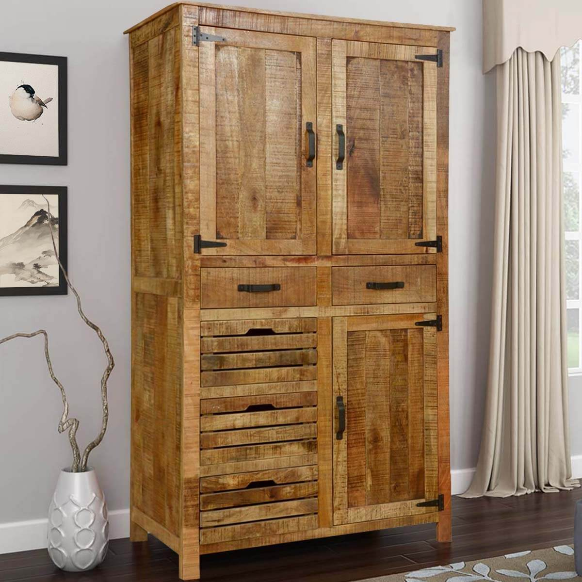 Avon Pioneer Rustic Solid Wood Tall Storage Cabinet With 5