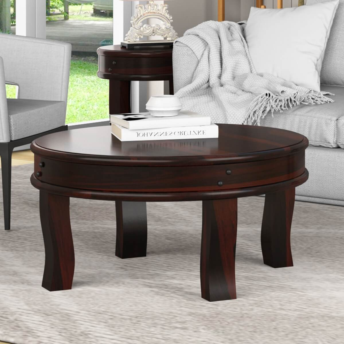 Full Moon Solid Wood 36 Round Coffee Table