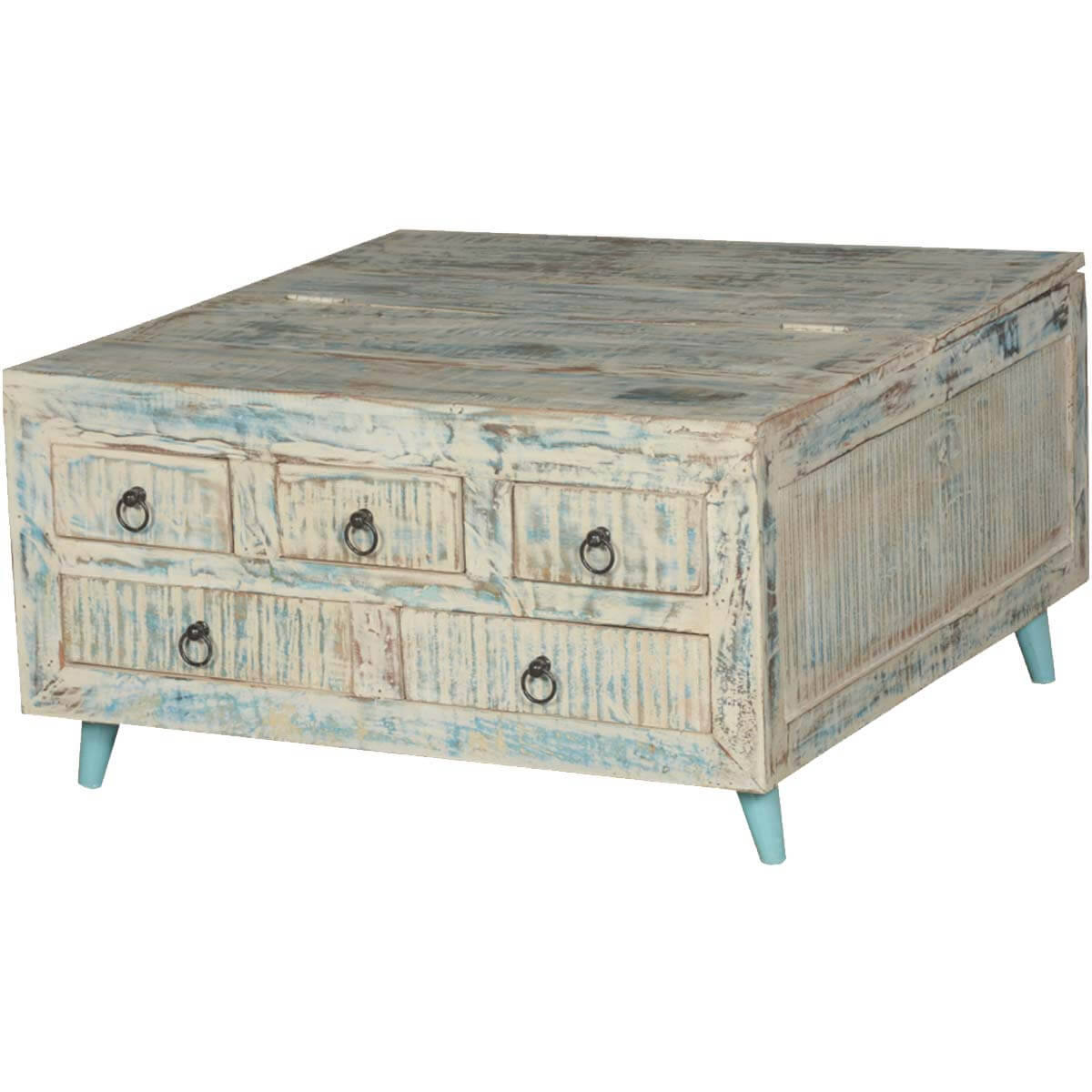 White Reclaimed Wood Coffee Table With Drawers: Vernon White Washed Reclaimed Wood Square Coffee Table 5