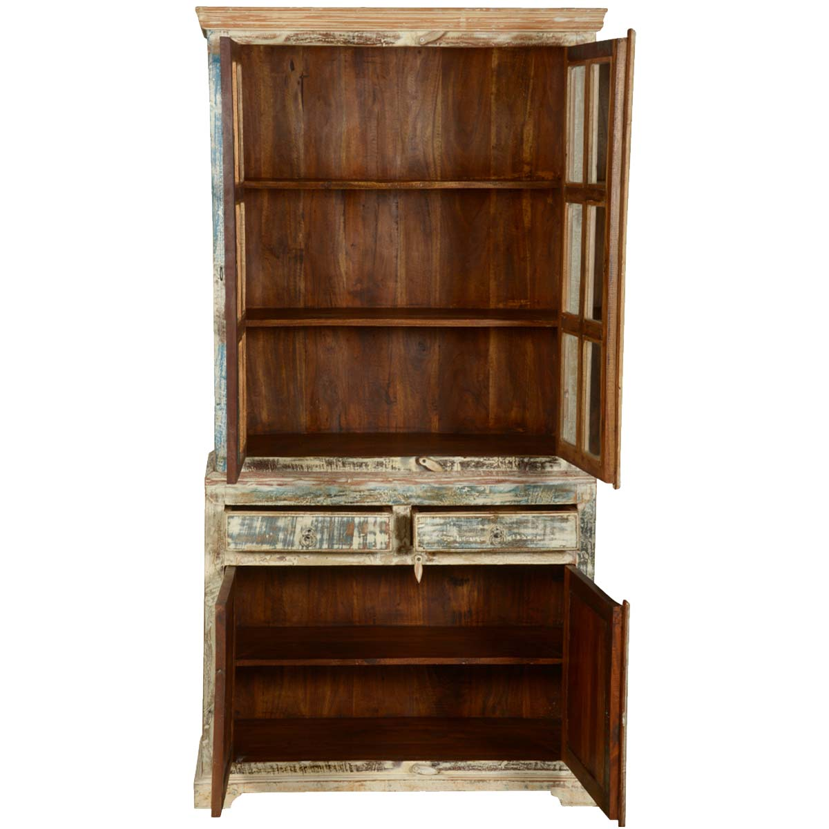 White Washed Reclaimed Wood Breakfront Hutch Buffet Cabinet : 72824 from www.sierralivingconcepts.com size 1200 x 1200 jpeg 113kB