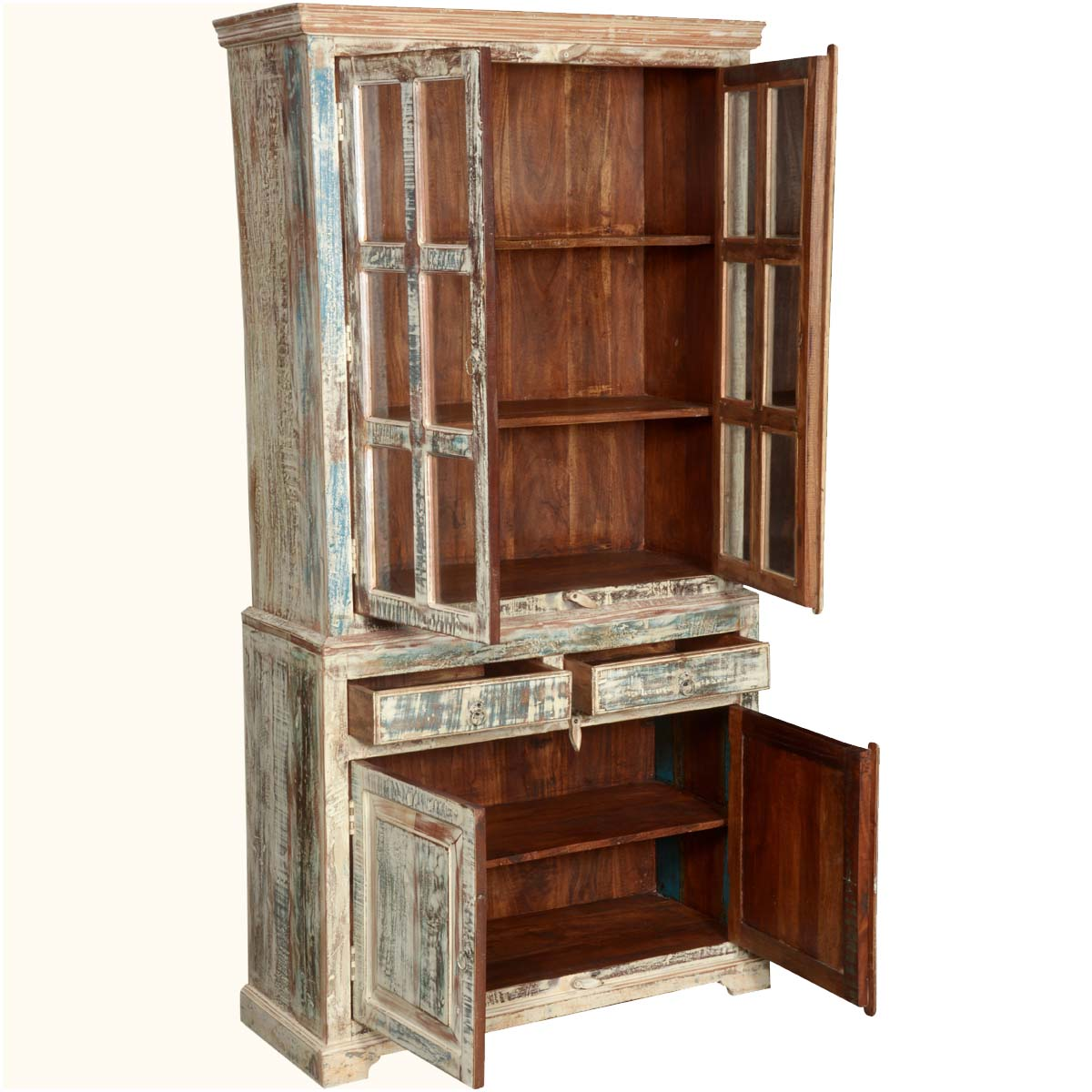 White washed reclaimed wood breakfront hutch buffet cabinet