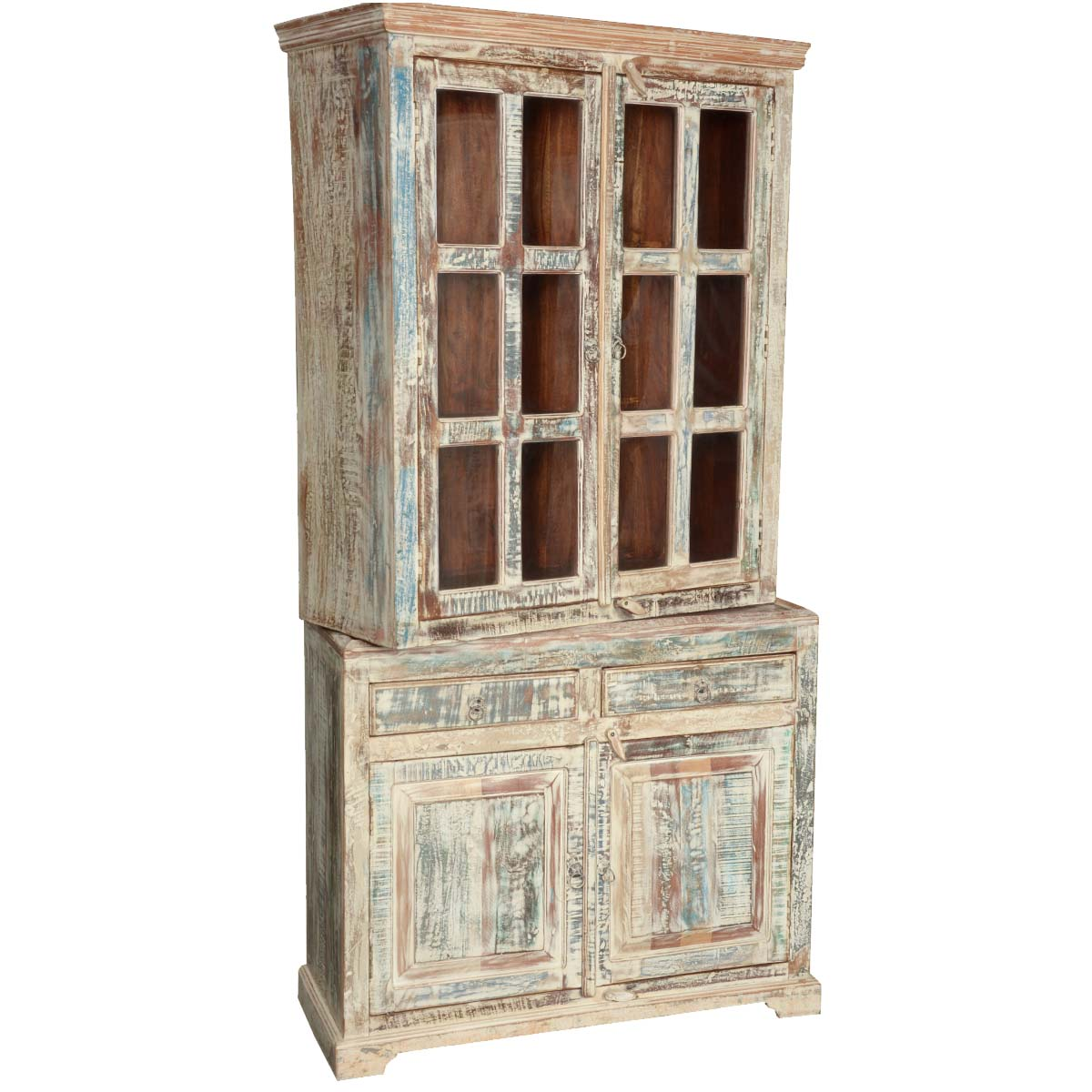 White Washed Reclaimed Wood Breakfront Hutch Buffet Cabinet : 72826 from www.sierralivingconcepts.com size 1200 x 1200 jpeg 153kB