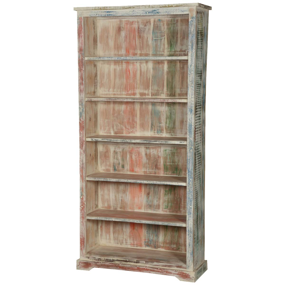 White Wood Bookcase ~ White washed reclaimed wood shelf quot bookcase open