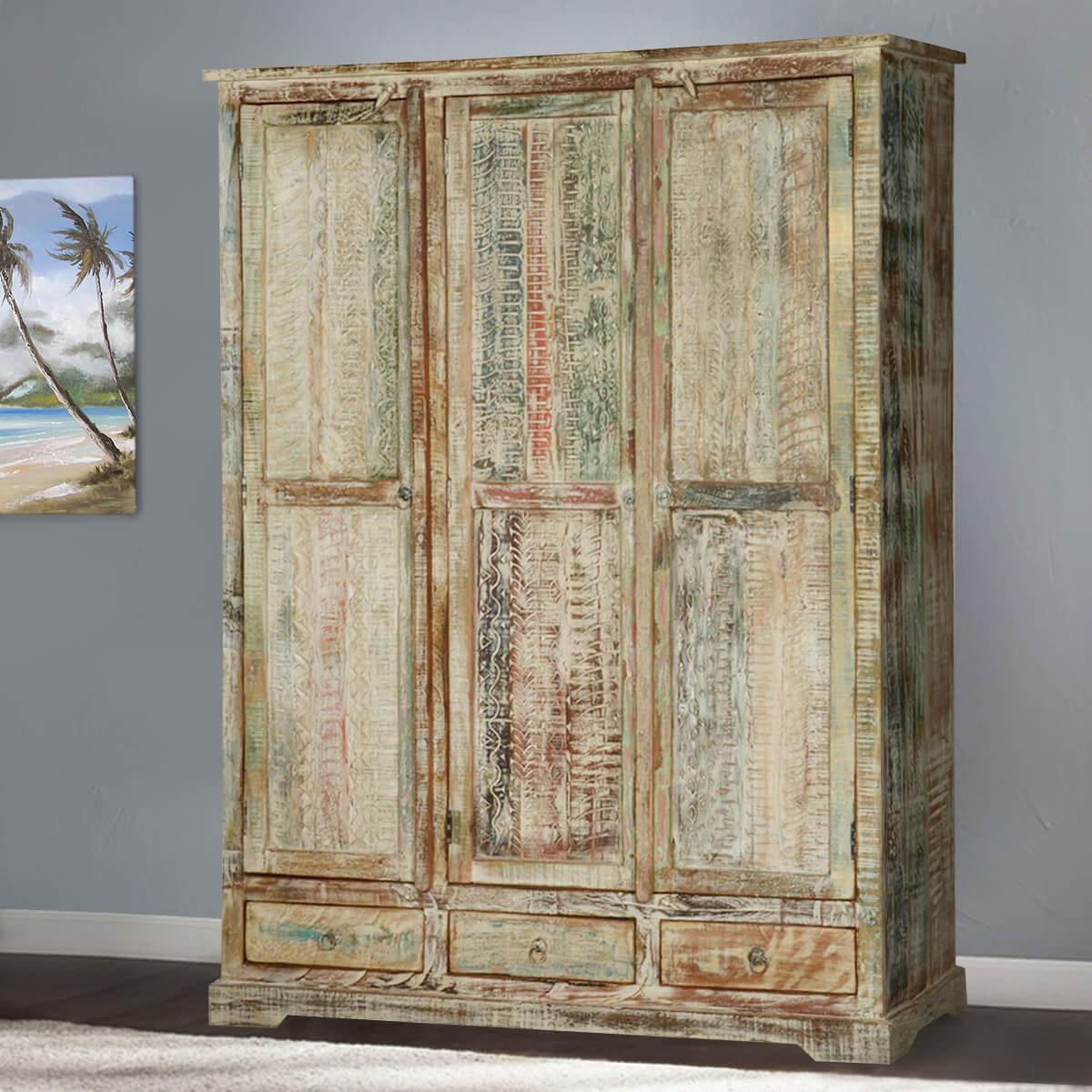 Woodsburgh White Washed Reclaimed Wood Large Wardrobe Armoire
